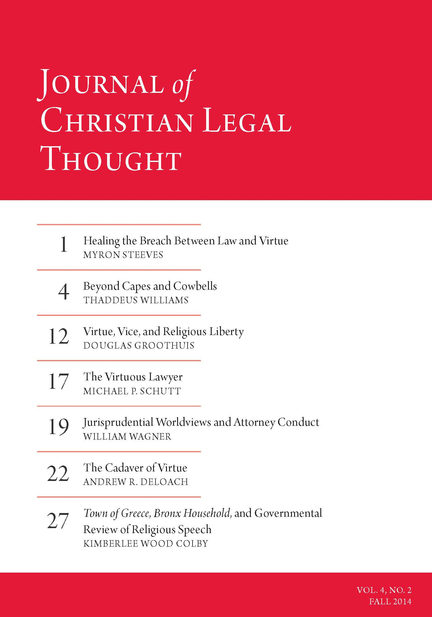 Christian Legal Society: Journal Of Christian Legal Thought - Fall 2014